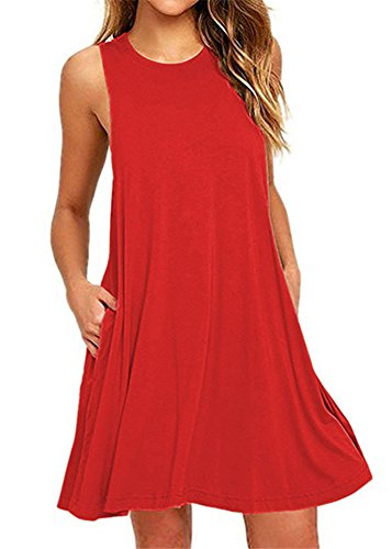 Women's Bestisun Sleeveless T Swing Casual Fall Pockets Shirt Red Dresses B6xqZ6w