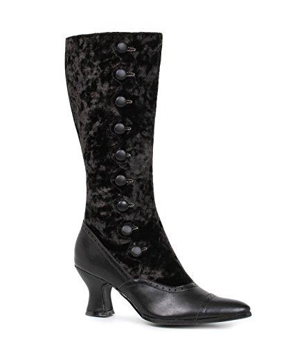 Gothic viktorianische Samt Stiefeletten boots Stiefel Gamaschen vintage schwarz Ellie