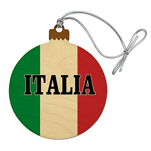 GRAPHICS & MORE Italia Italy Italian Flag Wood Christmas Tree Holiday Ornament
