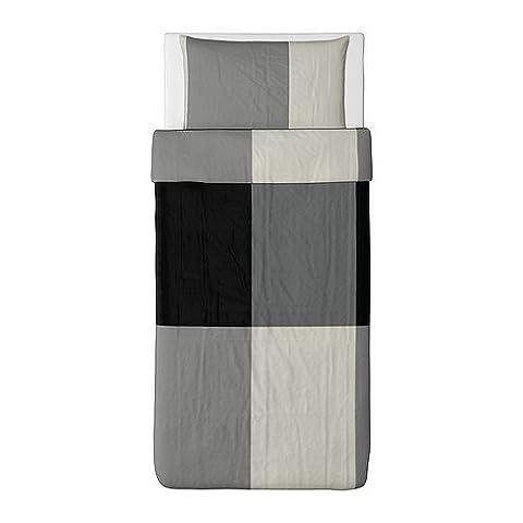 Ikea Brunkrissla Duvet Cover and Pillowcase, Black/Gray, Twin (Ikea Twin Bedding)