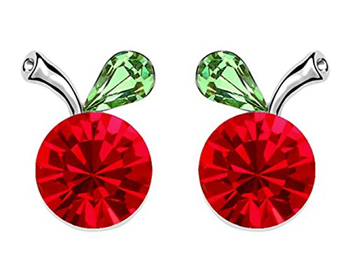 Plated Apple Crystal Silver Swarovski (Gift for Girls White Gold Plated Crab Apple Fruit Round Ruby Red Swarovski Element Crystal Stud Earrings Fashion Jewelry for Women)