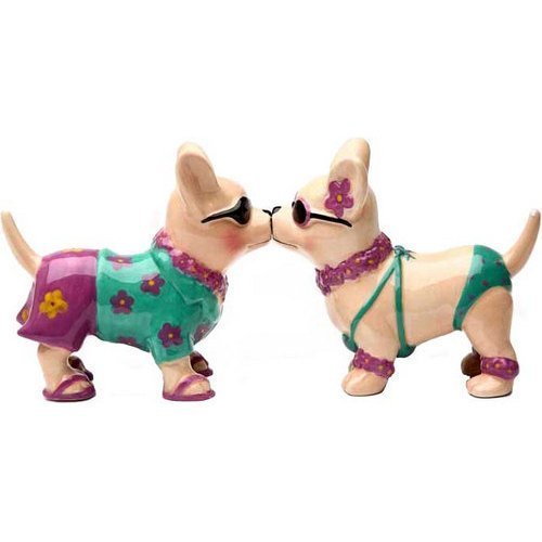 Chihuahua Beach Style 3 1/2'' tall Magnetic Salt and Pepper Shakers Pacific Giftware