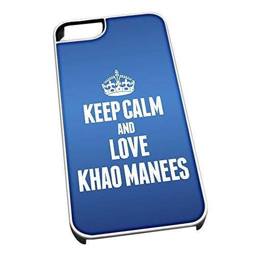 Bianco cover per iPhone 5/5S, blu 2111 Keep Calm and Love Khao Manees