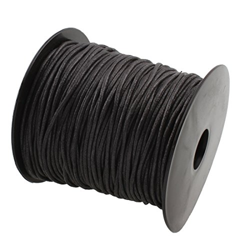2mm 100Yards Waxed Thread Cotton Cord Plastic Spool String Strap Necklace Rope Bead for Necklace Bracelet DIY Making (Black)