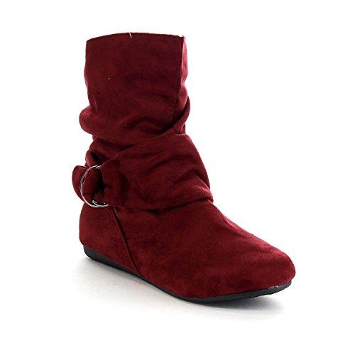 BESTON GA43 Women's Fashion Calf Flat Heel Side Zipper Slouch Ankle Boots Burgundy