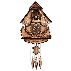 gyl Cuckoo Clock-Black Forest House Chalet Wall Pendulum Clock European Pastoral Home Decor Cuckoo Wood Hand Carved Engraving Wall Clock 14Inches/Diameter35.5CM,F-14Inches/Diameter35.5CM