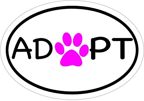 Pet Adoption Rescue - WickedGoodz Oval Pink Paw Pet Adoption Vinyl Window Decal - Rescue Bumper Sticker - Shelter Decal - Perfect Pet Cat Dog Gift