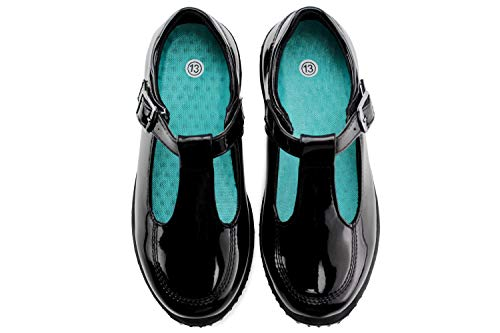 Jabasic Girls Mary Jane T-Strap School Uniform Flats Shoes (3,Black-6) ()