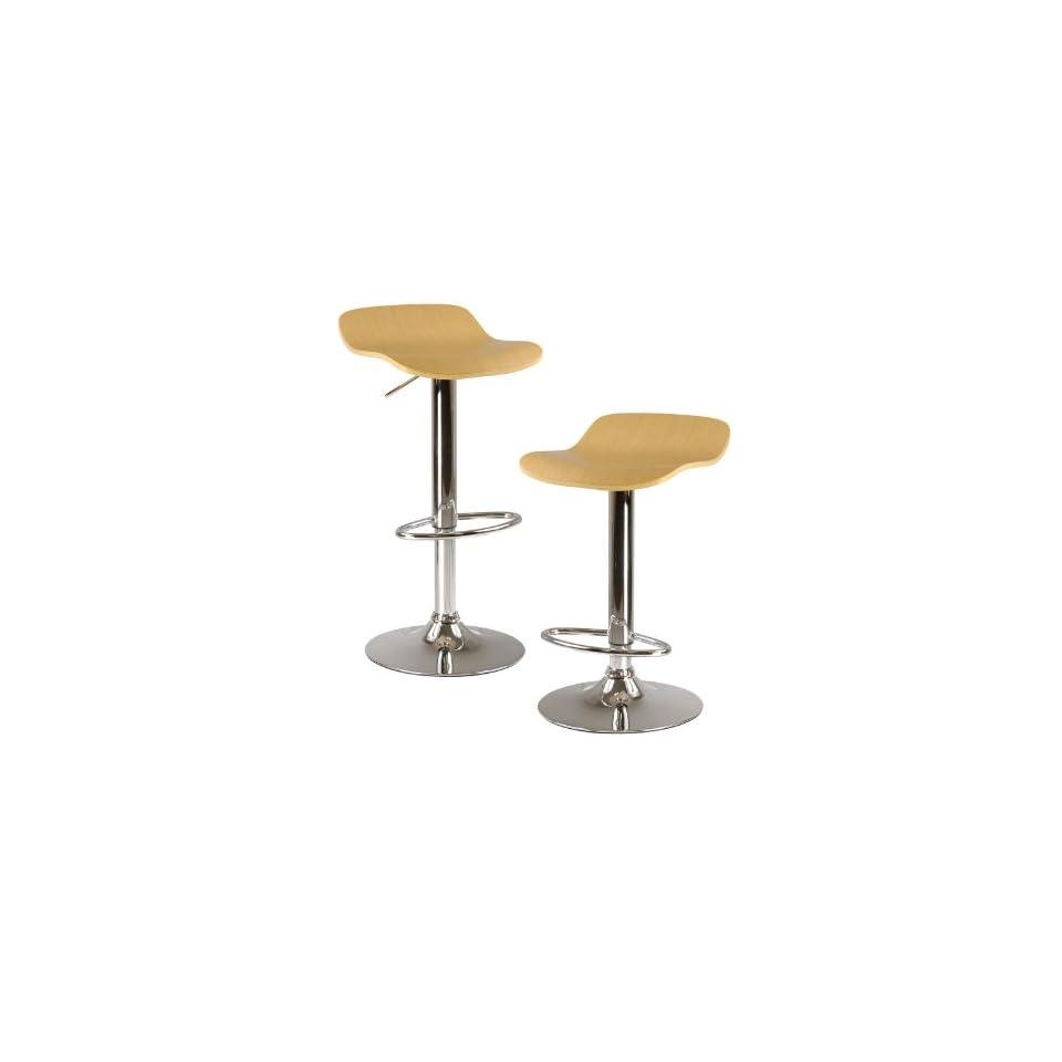 Kallie set of 2 Air Lift Adjustable Stool, Cappuccino