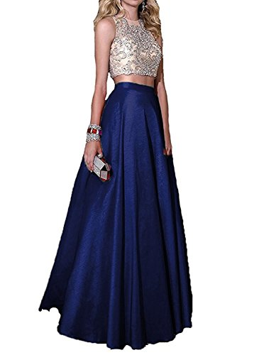 BessDress 2 Piece Embellished Bodice Stain Ball Gown Prom Party Dresses Long BD187 Embellished Prom Gowns
