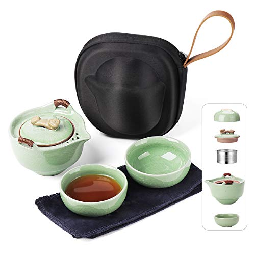 Travel Ceramic Tea Pot Infuser Set, Chinese Kung Fu Teapot 1 Pot 2 Mini Cups Porcelain Teacups with Portable Bag All in One for Outdoor Picnic Camping Business Hotel