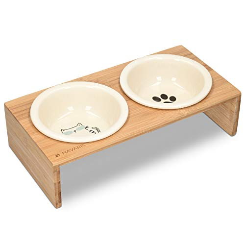 🥇 Navaris Ceramic Cat Bowls with Stand – Raised Double Food and Water Bowl Set for Cats on Elevated Wooden Riser – Eco-Friendly Cat and Paw Print Design