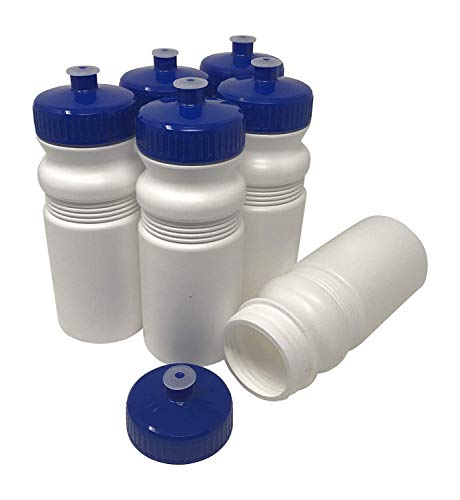 CSBD Blank 20 oz Sports and Fitness Squeeze Water Bottles, BPA Free, HDPE Plastic, Made in USA, Bulk, 6 Pack (20 Ounces, White Bottle - 63mm Blue Lid) ()
