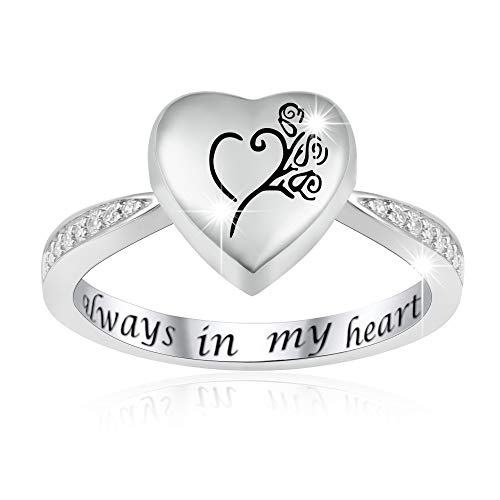 JXJL Sterling Silver Rose Urn Ring Exquisite Ashes Keepsake Holder Cremation Memorial Jewelry Always in My Heart (6)