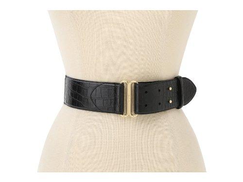 LAUREN Ralph Lauren Women's 2 Stretch Faux Croc Pullback w/ Double Collar Stud Belt (Large, Black) (Ralph Lauren Croc)
