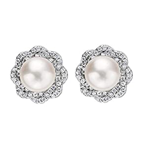 EVER FAITH 925 Sterling Silver 9MM AAA Freshwater Cultured Pearl CZ Elegant Floral Stud Earrings