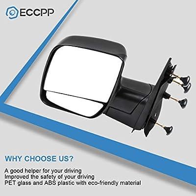 ECCPP Driver Side Mirrors, Left Rear View Mirrors fit 2003-2013 Ford E-150 E-250 2004-2013 Ford E-350 E-450 Super Duty E-450 Econoline Black Manual Folding: Automotive