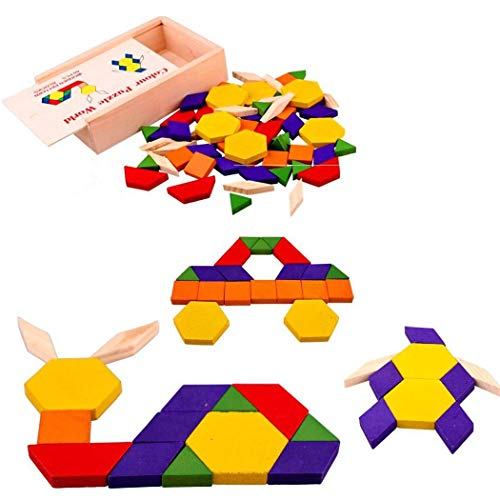 MinGe 60PCS Blocck Jigsaw Puzzles Wooden Building Block Animal Puzzle for Children's Puzzles Toys Intelligence Early Educational Toy Gift