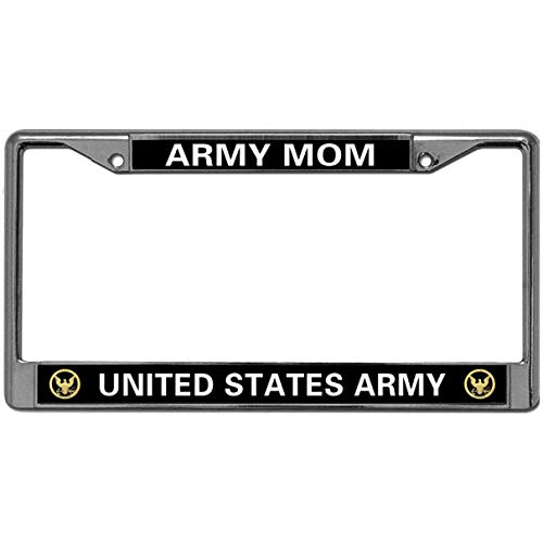 GND US Army MOM Silver License Plate Frame,United States Army MOM License Plate Frame Holder Stainless Steel Polish Mirror License Plate Frame for US Vehicles