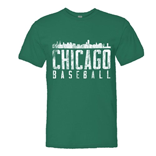 Mens Chicago Baseball Distresed Cubs Sox Skyline HQ - Kelly Green Chicago Cubs