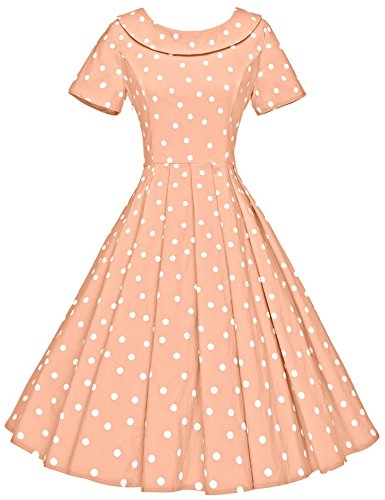 GownTown Women's 1950s Polka Dot Vintage Dresses Audrey Hepburn Style Party Dresses,Light Orange Dot,X-Large -