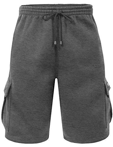 Men's Cargo Sweat Shorts Elastic Drawstring Casual Loose Fit Fleece (Large, 1RD0002-Charcoal)