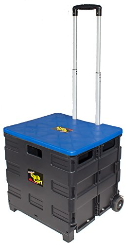 (Quik Cart Two-Wheeled Collapsible Handcart with Blue Lid Rolling Utility Cart with seat heavy duty)