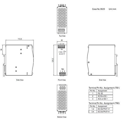 Hutschienen Netzteil 120W 24V 5A ; MeanWell NDR-120-24 ; DIN-Rail Trafo