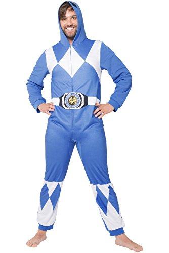 Power Ranger Men's Blue One Piece Pajama, L/XL