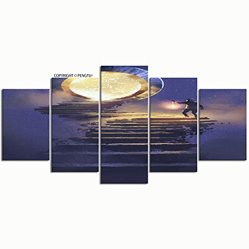 (PENGTU Paintings Modern Canvas Painting Wall Art Pictures 5 Pieces Man Lantern Walking on Stone Staircase Wall Decor HD Printed Posters Frame)