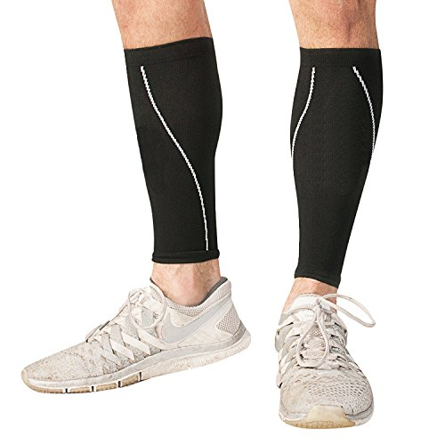 Calf Compression Socks - Best Graduated Compression Socks for Shin Splint Support & Calf Pain Relief - Men, Women, Athletes, Nurses - Maternity, Travel (Large) Black
