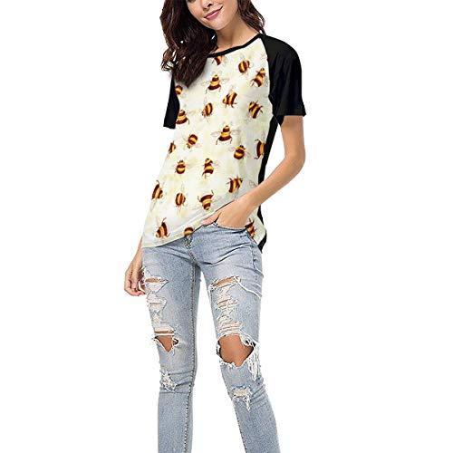 (Laki-co Women's Summer Short Sleeve - Honey Bees Casual Raglan Tee Baseball Tshirts Tops Blouse XXL)