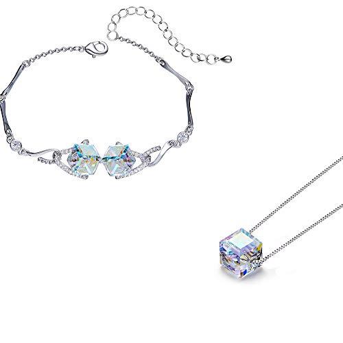 - MINI LIFE S925 Sterling Silver Pendant Necklace Bracelet, Link Jewelry with 14k Platinum Gold Plated,Swarovski Elements Crystal (Rainbow Set)