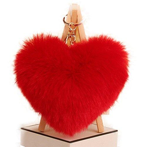 (Qingsun Love Heart Fluffy Keychain Pom Pom Fluffy Key Chain Faux Rabbit Fur Ball key ring Bag Car Pendant(Red))
