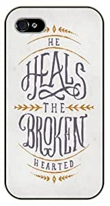 """Personality customization iPhone 6 (4.7"""") Bible Verse - He heals the broken hearted - black plastic case / Verses, Inspirational and Motivational By CUY Cases"""
