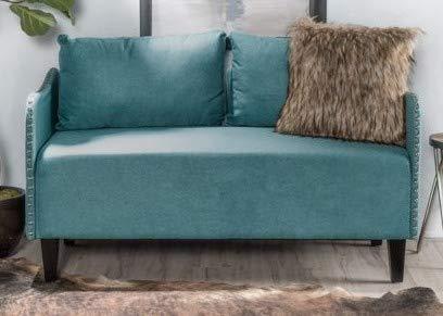 Marvelous Amazon Com Love Seat Small Sofa Bench Teal 52 W Kitchen Theyellowbook Wood Chair Design Ideas Theyellowbookinfo