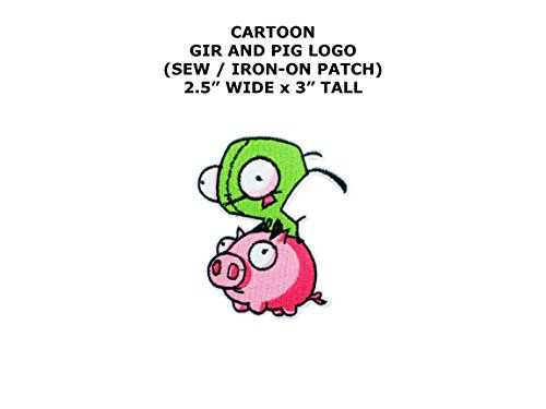 Invader Zim Cosplay Costumes (Invader Zim Gir and Pig Cartoon DIY Embroidered Sew or Iron-on Applique Patch Outlander Gear)