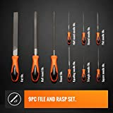 VonHaus 9pc Hardened Steel Hand File and Needle Set with Hand, Round, Half Round Files 6 Needle Files and Storage Case for Shaping, Sharpening and De-burring Woodwork and Metal Projects