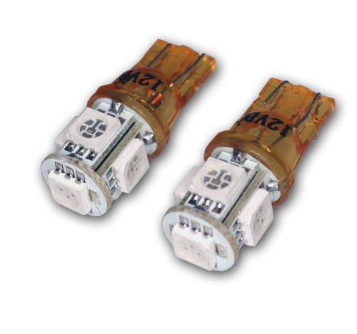 TuningPros LEDFSM-T10-AS5 Front Side Marker LED Light Bulbs T10 Wedge, 5 SMD LED Amber 2-pc Set (Marker Led Side Accent)