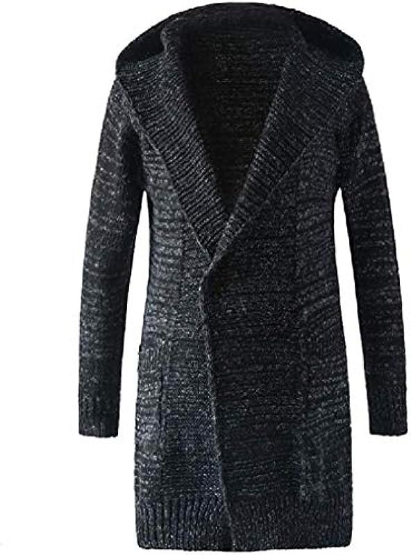 Handsome Mens Long Sleeve Winter Knitted Sweater Hooded Cardigan Coat Outwear: Odzież