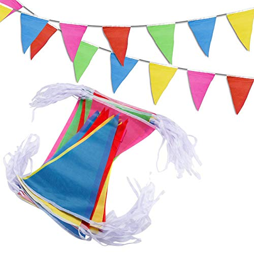 DC-BEAUTIFUL 525 Ft Pennant Banner Flags- 300 Pcs Multicolor Bunting String Flags - Party Must for Festivals Wedding Ceremony Birthday Party Grand Opening Christmas Decorations ()