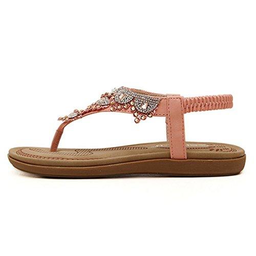 YOUJIA Women's Bohemia Trendy Rhinestone Strap Flat Clip Toe Sandals 2-7.5 Pink PREaegE