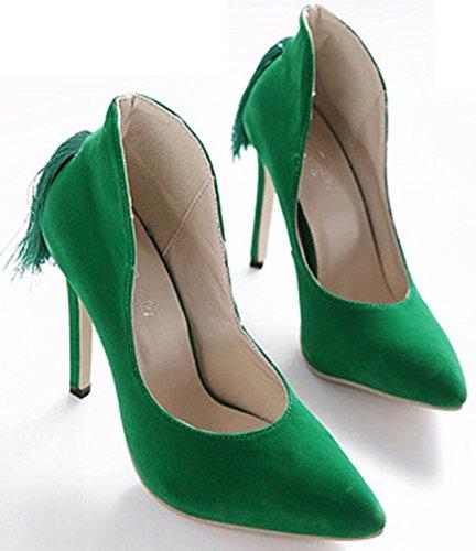 Scarpe Basse Easemax Eleganti Stiletto Con Frange A Punta Slitta Su Tacco Alto Scarpe Basse Pompe Verdi