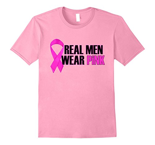 Mens PREMIUM Breast Cancer Awareness Tshirt Real Men Wear Pink Small Pink (Shirt Men Pink Real Wear)