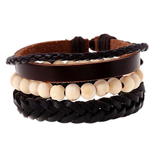 (Fashion Punk Vintage Hmade Bead Woven Black Leather Men Bracelets Women Bangles Girls Rock Homme Jewelry Accessories 3pcs/Set)