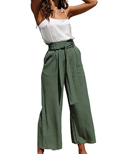 Relipop Women's Trousers Belted High Waist Wide Leg Palazzo Lounge Loose Pants Green