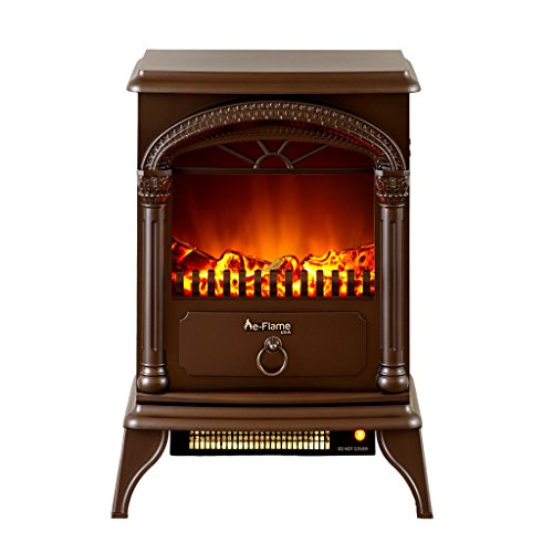 e-Flame USA Hamilton Freestanding Electric Fireplace Stove - 3-D Log and Fire Effect (Bronze)