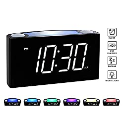 Rocam Digital Alarm Clock for Bedrooms - Large 6.5 LED Display with Dimmer, Snooze, 7 Color Night Light, Easy to Set, USB Chargers, Battery Backup, 12/24 Hours for Heavy Sleepers, Kids, Desk, Home