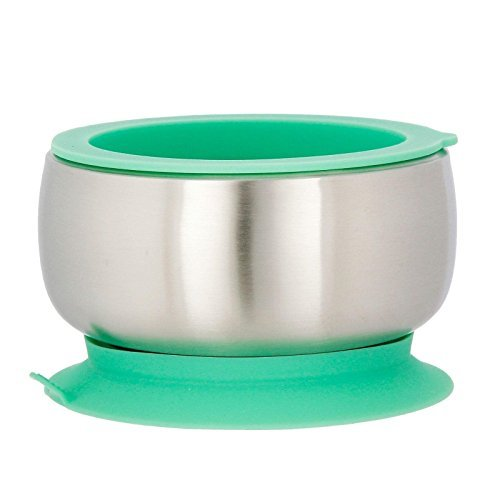 Avanchy Baby Feeding Stainless Steel Spill Proof Stay Put Suction Bowl + Air Tight Lid - Great Baby Gift Set (Green) ()
