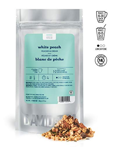 DAVIDsTEA White Peach Loose Leaf Tea, Premium White Tea with Peaches and Cream, Perfect for Hot and Iced Tea, 2 ounces / 50 grams